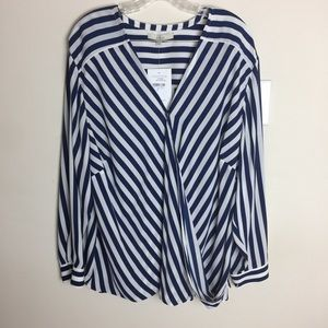 NWT Women's Blue and White Striped Blouse Size 22W